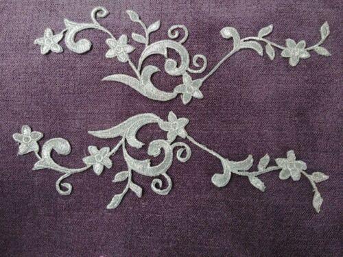 Evening Craft Pair Silver grey Floral Metalic  Applique Motif Trimming