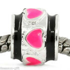 """10PCs European Charm Spacer Beads Enamel Pink Heart Silver Plated 3/8""""x 3/8"""