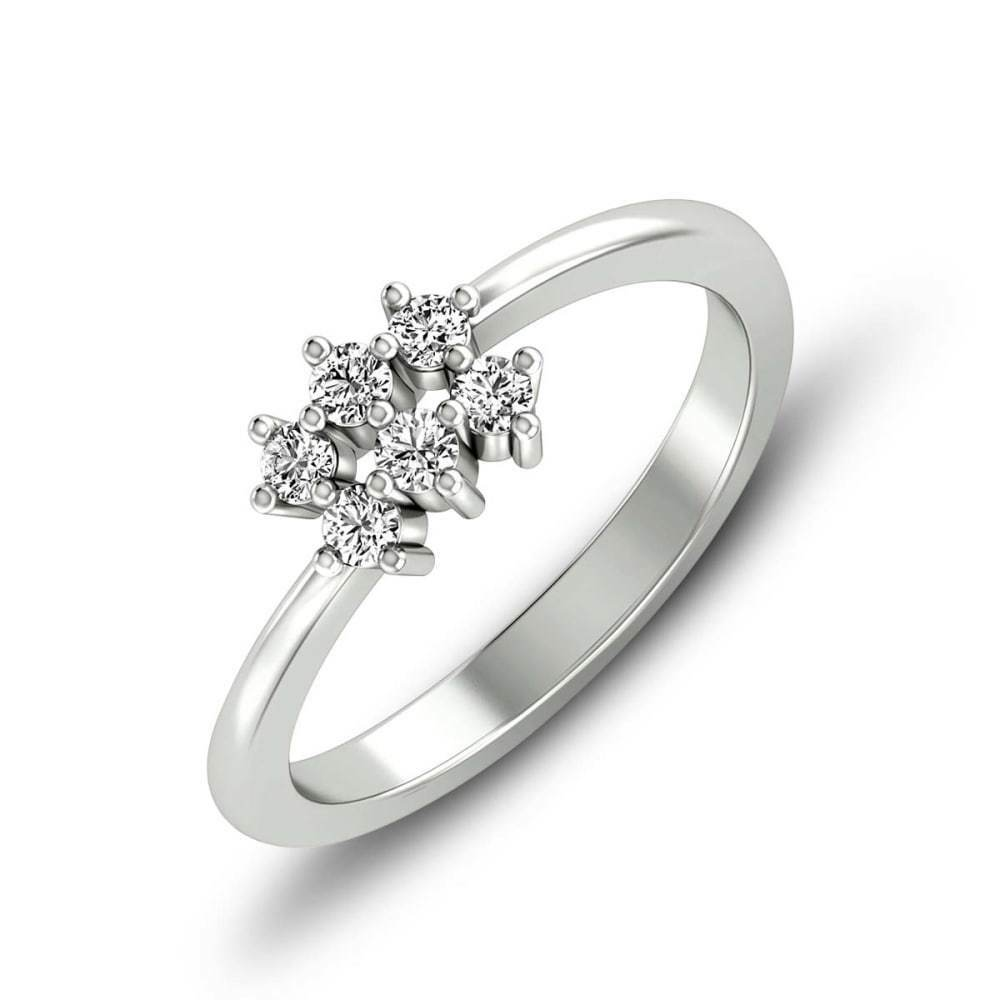 14k White gold 0.27 Ct Natural Diamond Engagement Ring Fine jewelry Certified