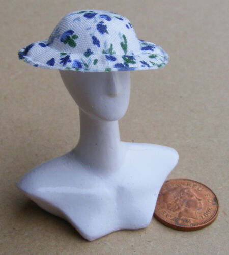 1:12 Scale Medium Blue Cloth Ladies Hat Tumdee Dolls House Clothing MHA