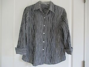 10a625d9199 Foxcroft fitted size 8 black   white check crinkle cotton blend 3 4 ...