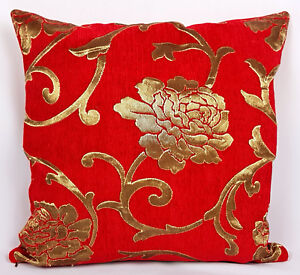 Saybil-Red-Luxury-Floral-Chenille-Cushion-Cover-with-Gold-Floral-Design-18x18