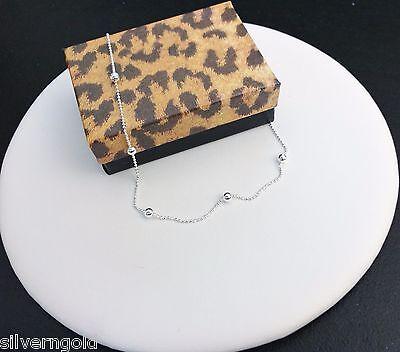 "Ankle Bracelet-Anklet-Sterling Silver .925-DiamondCut Chain-Bead-Station-10"""