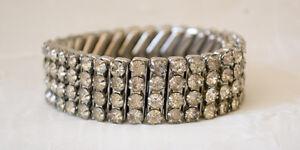 Rhinestone-Art-Deco-Expansion-Bracelet-Clear-Round-Rhinestones-Stainless-Steel