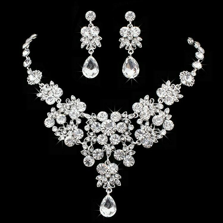 Silver Swarovsk crystal and Pearl Wedding Bridal Necklace Earring