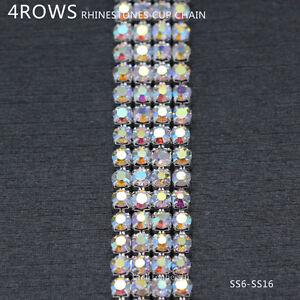 4-Row ss6 ss8 ss12 ss16 crystal AB rhinestone close silver chain ... 2d36ebd99687