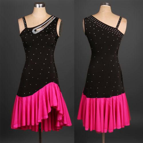 Black Latin salsa tango Cha cha Ballroom Competition Diamond Paste Dance Dress