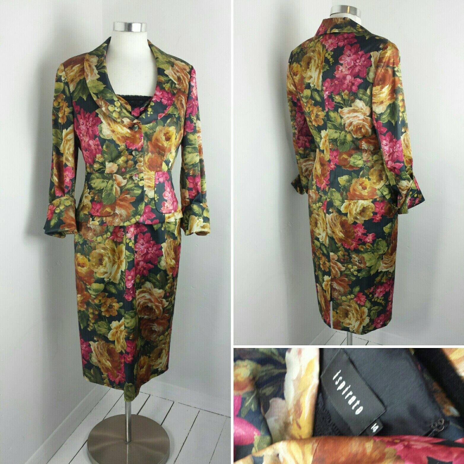 Ispirato mère de la robe de mariée veste costume Courses Motif Fleuri Rose Orange Multi 14