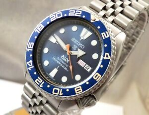 Seiko Blue Shimmer PADI GMT Divers Day Date Automatic Watch Jubilee Custom 6309