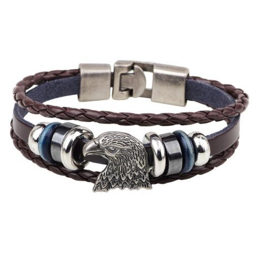 L//P 1 Braun Adlerkopf Geflochten Armband Lederarmband Wickelarmband Geschenk