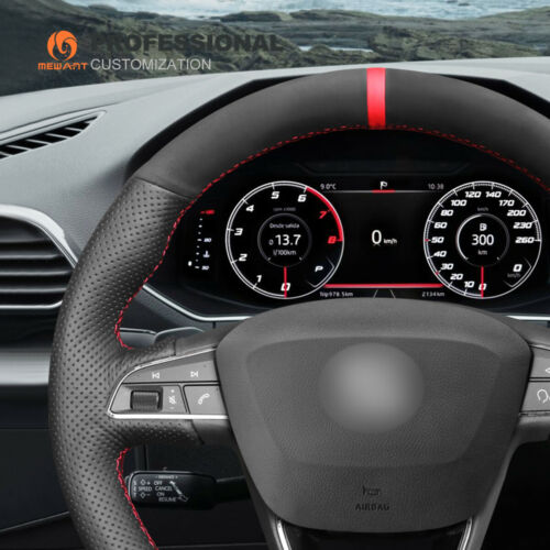 Custom Suede Leather Steering Wheel Cover for Seat Leon 5F Mk3 Ibiza 6J Tarraco