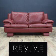 Italsofa by Natuzzi Designer Sofa Leder Rot Zweisitzer Couch Modern Echtleder...