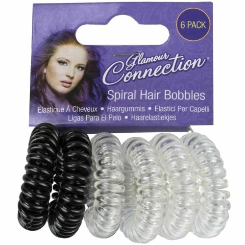 6 Pack Girls Womens Spiral Plastic Elastic Hair Bands Bobbles Stretchy Coil