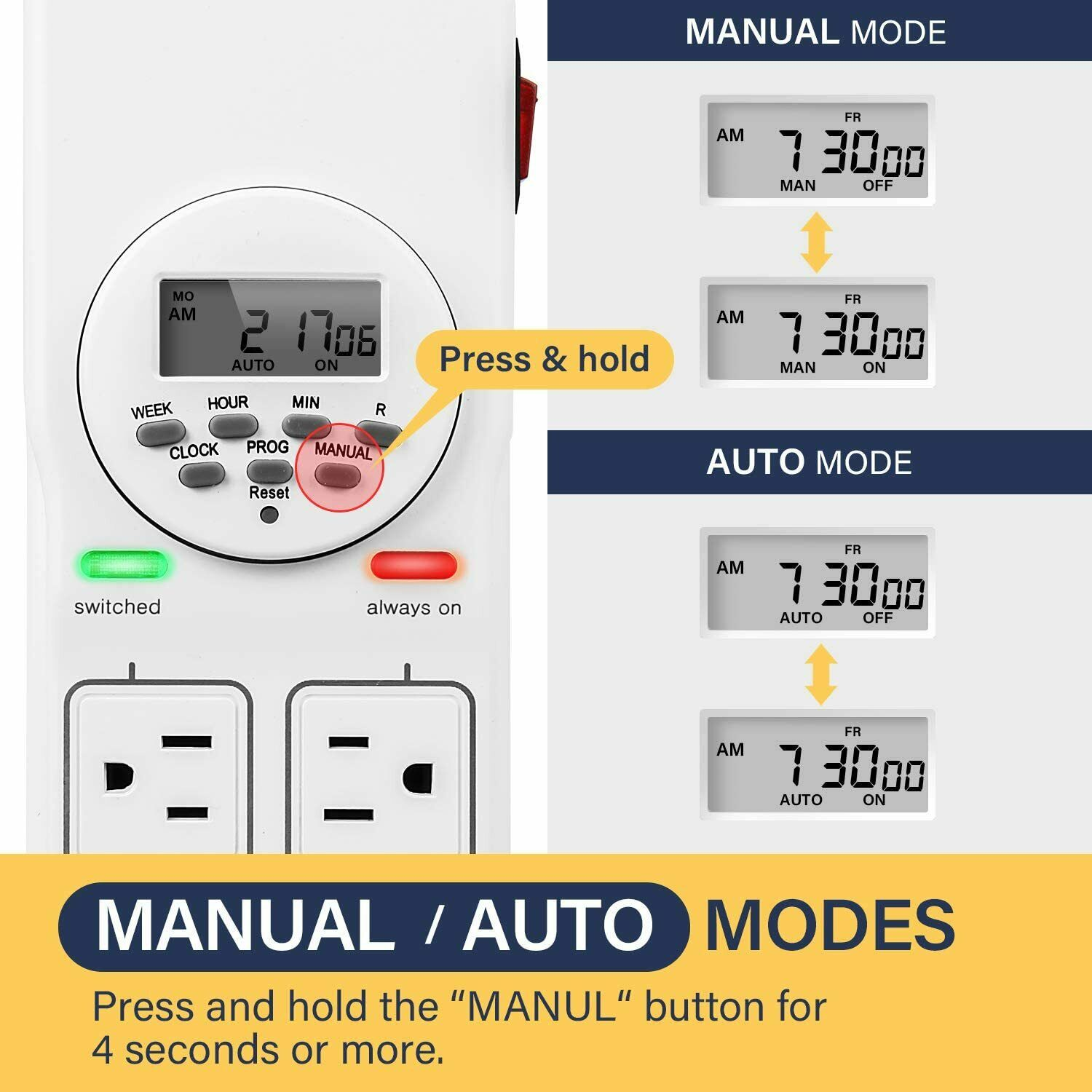 iPower 8-Outlet Power Strip with 7-Day Digital Timer Surge Protector