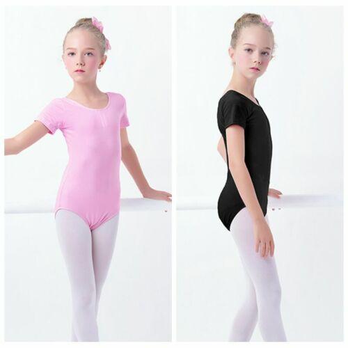 Girls Gymnastics Leotard Cotton Spandex Ballet Leotards Short Sleeve White 2291