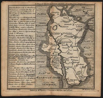 Antique County Map Of Gloucestershire By Badeslade & Toms. Ne Orientation 1742