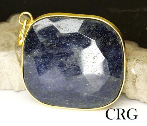 Gold Plated Faceted Square Blue Aventurine Pendant FC21DG