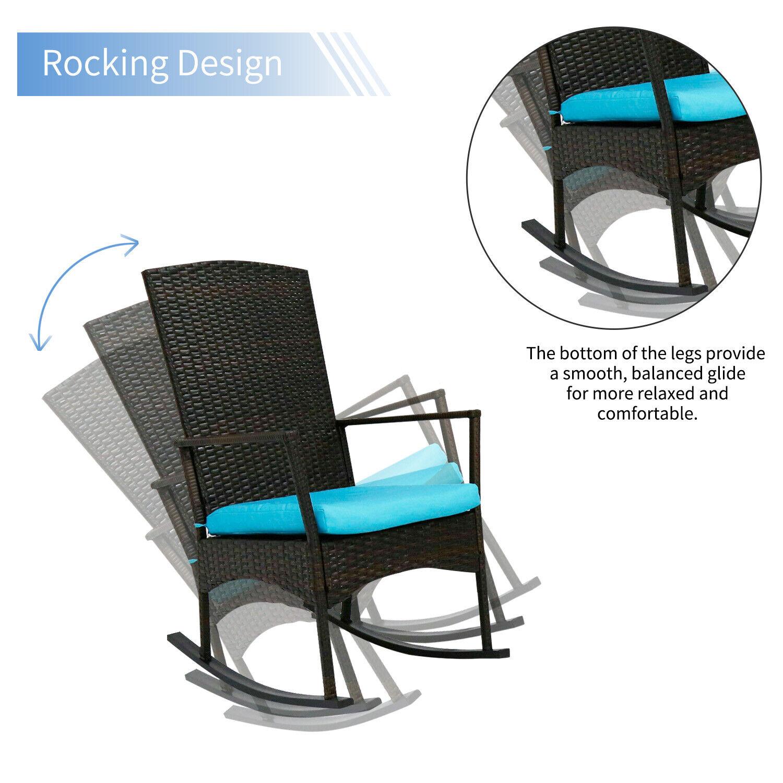 Rocker Vivere WAVEROCK1-NW Aluminum Rocking Chair Navy