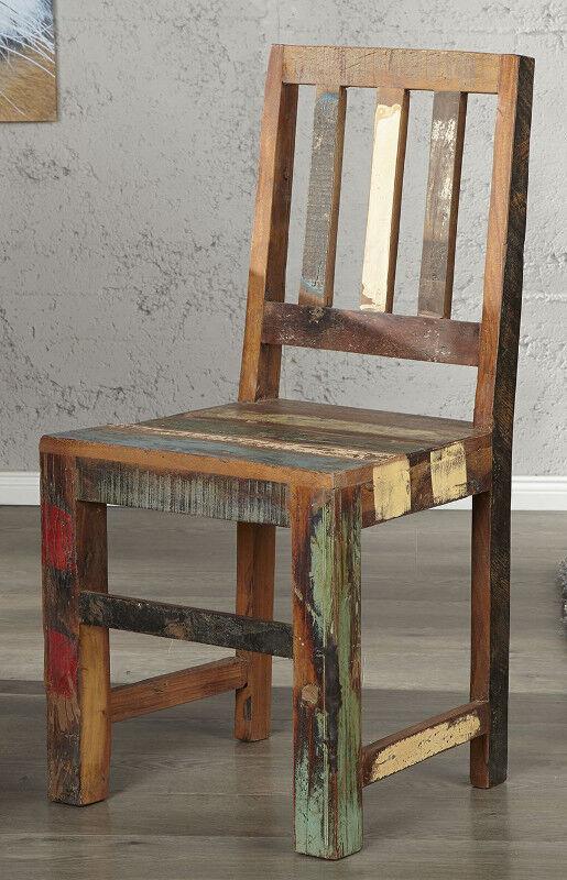 Chaise salle à manger chaise Madras Couleuré recyclage bois design chaise de cuisine fauteuil NEUF