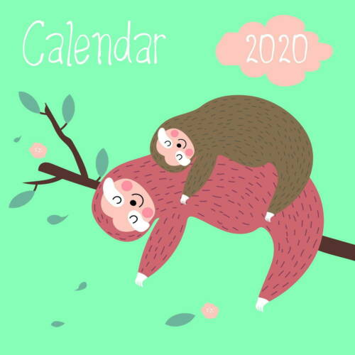 Happy Sloths Wall Calendar 2020 by Presco Group