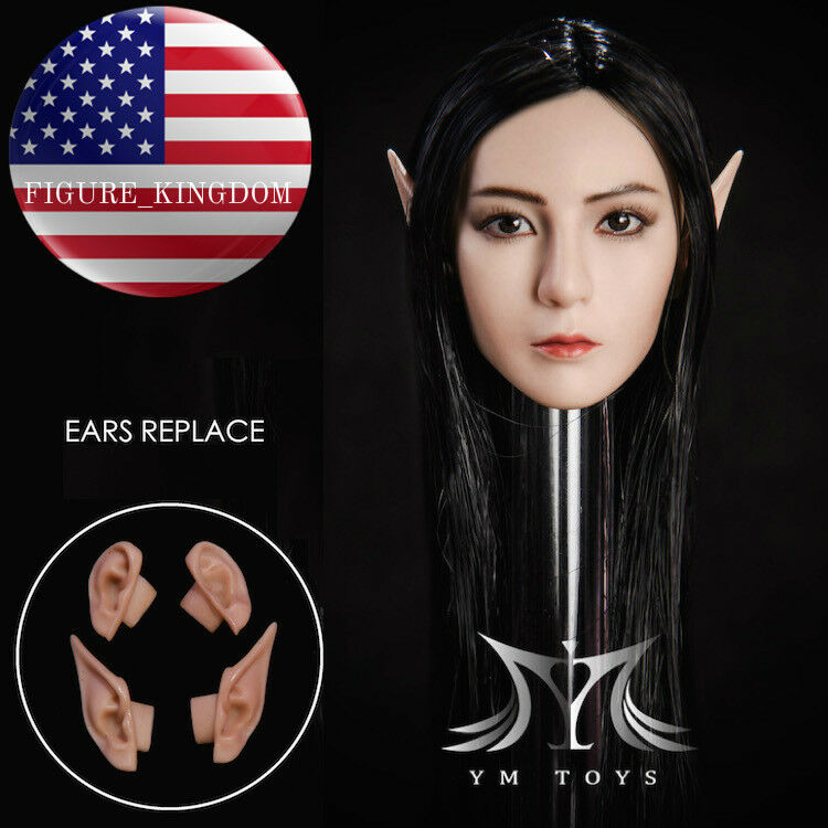 1 6 Fairy Elf Female Head Sculpt with Detachable Ears For 12  Figure SUNTAN