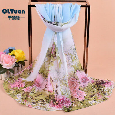 160 50cm Flowers Floral Fashion Ladies Scarves Chiffon Scarf Womens Shawls X284