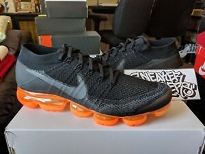 25a45ebf602d Nike Air Vapormax Flyknit Anthracite Black Rush Orange Running Men s ...
