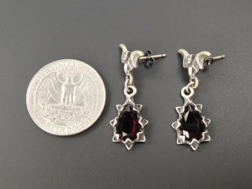 Sterling Silver Bat Top Dark Red Purple Crystal Spike Teadrop Earrings Gothic
