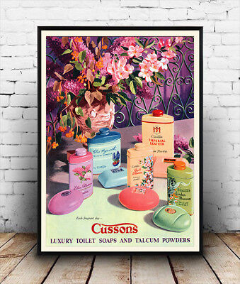 Cussons luxury talcum powder Vintage advertising poster reproduction.