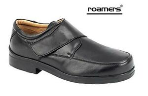 8d2687a8 Men's Roamers Black Leather Extra Wide Fit EEE Adjustable Shoe size ...