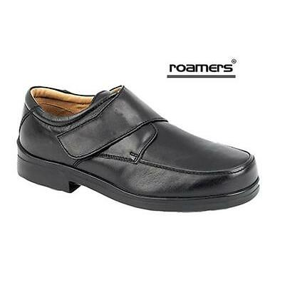 Mens Roamers Black Leather Extra Wide Fit EEE Touch Fastening Shoe size 6 14 UK