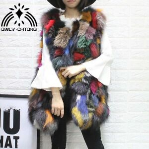 Real natural genuine fox fur vest women long fashion multi ...
