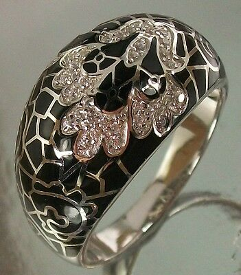 925 Sterling Silver Ring clear CZ black Enamel Floral Design US 9 1/4 AU S, 6g