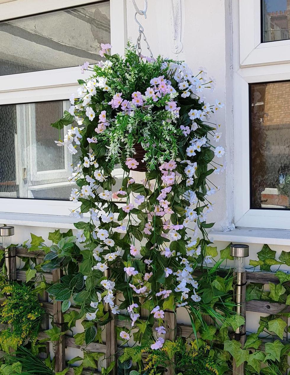 90 Cm Artificiel Panier Suspendu prêt à accrocher fleurs feuille Plantes de lierre Fern Plantes feuille Blanc f83482