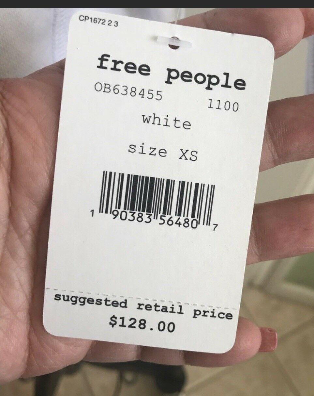 Free People Women FP Movement Freestyle Freestyle Freestyle Hoodie Sweatshirt XS White Short Sleeve f65437