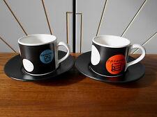 FRIENDS TV SHOW small espresso coffee cup/saucer x2 WARNER BROS 2000