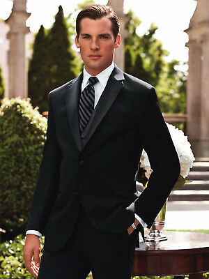 Black 2 Button Modern Slim Satin Trim Lapel Wool Tuxedo Suit Prom Tux Package