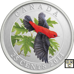 2014-039-Scarlet-Tanager-039-Colorized-25-Cent-Coin-Oversized-14004