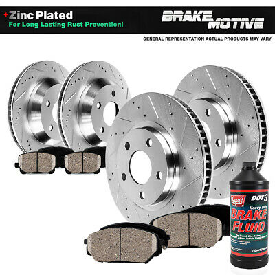 Front Disc Brake Rotors and Ceramic Brake Pads for 2010 Kia Soul Brake Pads Include Hardware With Two Years Manufacturer Warranty