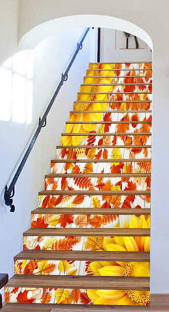 3D Gelb Blaume 247 Stair Risers Dekoration Fototapete Vinyl Aufkleber Tapete DE