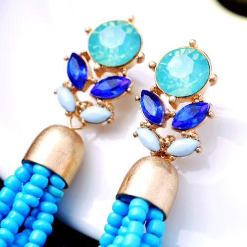 Boucles d`Oreilles Clou Long Doré Pompon Mini Perle Bleu Turquoise Ethnique XX21