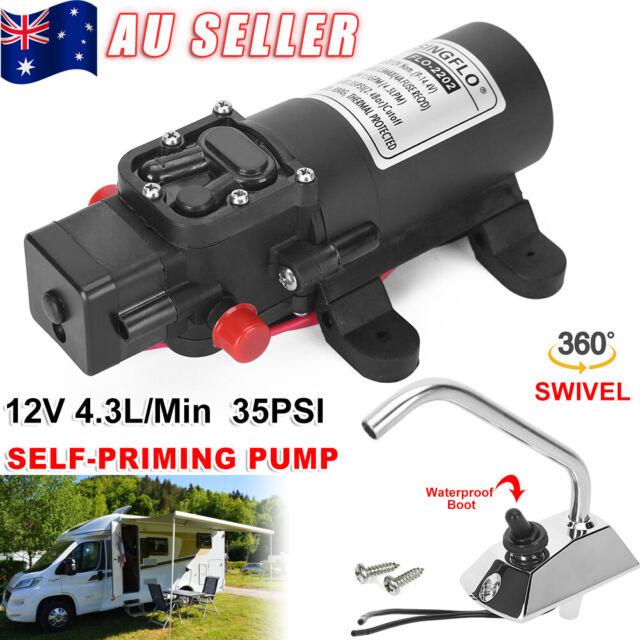 12V Self Priming Garden Caravan Marine Electric Galley Water Pump Faucet Tap Kit