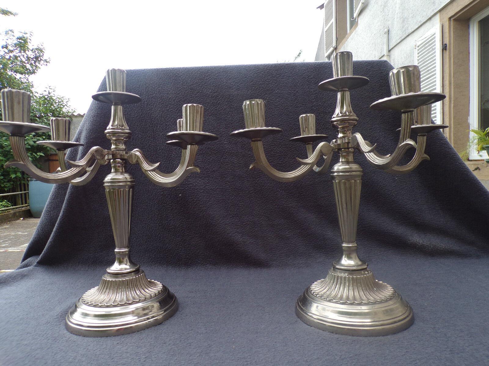 Paar von Kerzenhalter 19eme aus Bronze Versilbert 4 Querlenker Licht