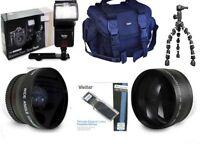 Nikon D90 D5300 D3200 Essential Accessory Kit Gadget Bag 3 Lenses Flash Tripod