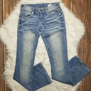 True-Religion-Womens-Joey-Low-Rise-Flare-Leg-Distressed-Jeans-Size-24