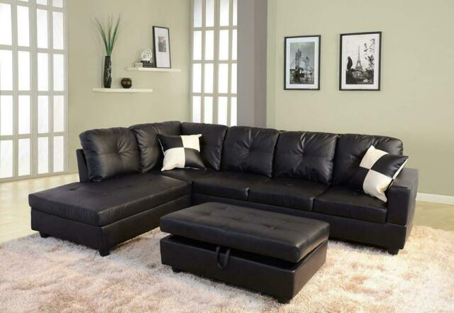 3PS Sectional Sofa Set Faux Leather L-shaped Chaise Couch for Living Room  -Black