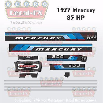 1976 Mercury 85 HP Outboard Reproduction 12 Piece Marine Vinyl Decals 850