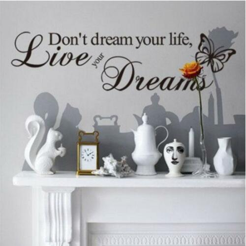 Removable Quote Word Decal Vinyl Art Wall Stickers Home Room Decor Bedroom LH