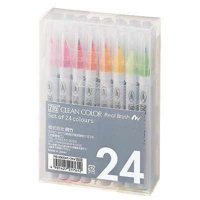 New!! Kuretake ZIG CLEAN COLOR Real Brush 12/24/36/48/60 Colors Fude Brush Pen