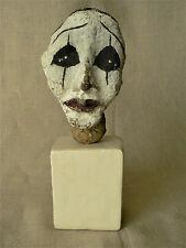 Ancienne sculpture de tête de clown en papier mâché sur socle
